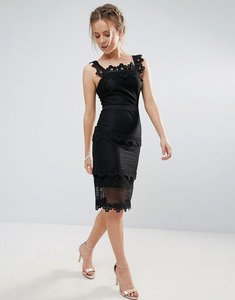 Read more about Endless rose lace panelled midi pencil dress - black