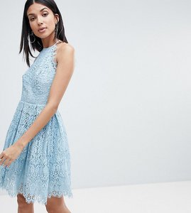 Read more about Asos design tall pinny prom mini dress in lace - pale blue