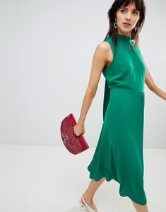 Read more about Warehouse midi dress with tie back detail in green - green