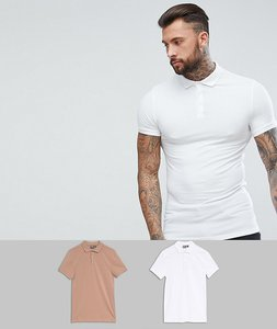 Read more about Asos design muscle fit jersey polo 2 pack save - white baguette