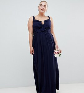 Read more about Asos curve wedding ruched mesh bardot maxi dress - navy