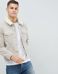 Read more about Asos cord western jacket with borg collar in stone - stone