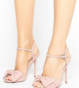 Read more about Office scarlett knot heeled sandals - dusty pink suede