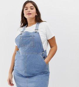 Read more about Asos design curve denim dungaree dress in vintage blue - vintage blue