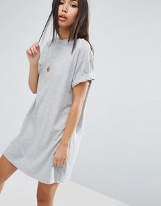 Read more about Asos ultimate t-shirt dress with rolled sleeves - grey marl