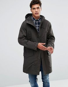 Read more about French connection parka mac in waxed canvas - black olive