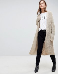 Read more about Asos chunky cardigan in maxi length - stone