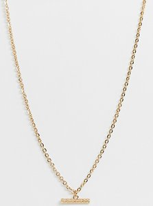 Read more about Designb t-bar necklace in gold exclusive to asos