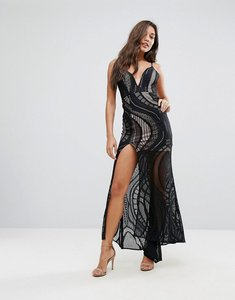 Read more about Love triangle allover lace maxi dress with deep thigh split - black