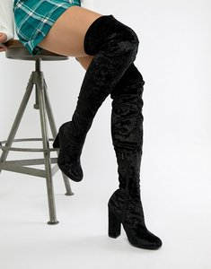 Read more about Truffle collection crushed velvet over the knee boot - black crushed velvet