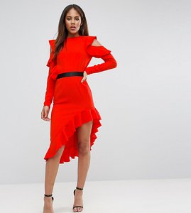 Read more about Asos tall cold shoulder crepe asymmetric dress - red
