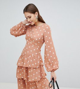 Read more about Fashion union tall open back midi dress with tiered skirt in vintage spot - apricot spot
