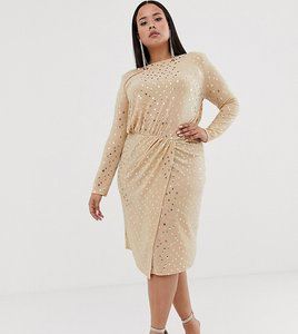 Read more about Flounce london plus wrap front midi dress with statement shoulder in gold metallic