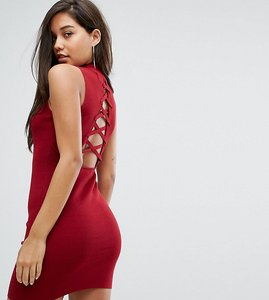 Read more about Parallel lines high neck knitted dress with lace up back - burgundy
