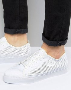 Read more about Asos lace up plimsolls in white mesh - white