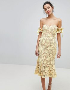 Read more about Jarlo all over cutwork lace bardot midi dress with tie sleeve detail - lemon