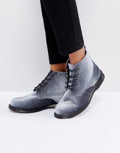 Read more about Truffle collection lace up velvet ankle boots - grey velvet