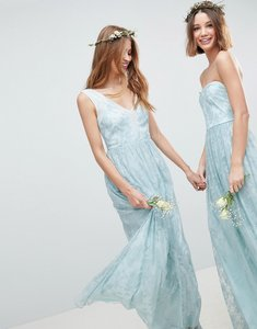 Read more about Asos design design bridesmaid delicate lace sheer insert maxi dress - pastel blue