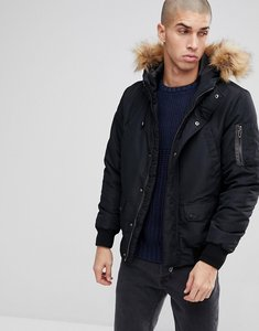 Read more about Only sons padded jacket with removable faux fur hood - black