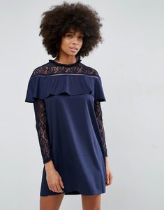 Read more about Unique21 frill and lace dress - navy