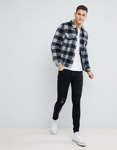 Read more about Asos borg western jacket in grey check - grey