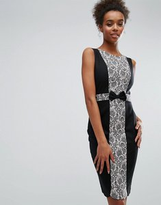 Read more about Paper dolls black and pink lace panel dress - black