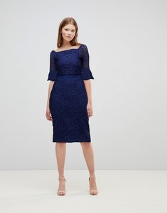 Read more about Little mistress all over lace bardot midi dress with fluted sleeve detail - navy