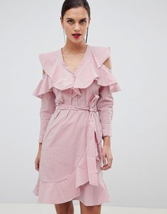 Read more about Y a s ruffle stripe mini dress with cold shoulder in pink