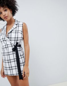 Read more about Asos design wrap playsuit with tie detail in check - check