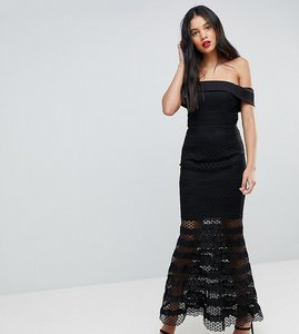 Read more about Jarlo tall allover lace bardot midi dress with fluted hem - black