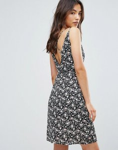 Read more about Qed london floral printed cross back wrap dress - black