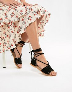Read more about Asos design foster suede studded two part with tie leg - black suede