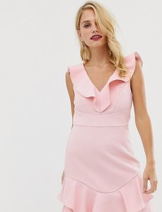 Read more about Forever new structured mini dress with flippy hem in blush