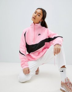 Read more about Nike vaporwave oversized half zip track jacket in pink with large swoosh - pink
