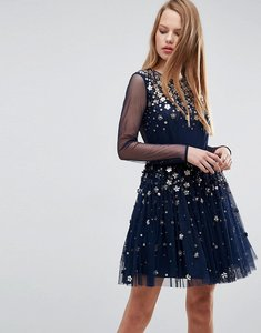 Read more about Asos floral sparkle embellished tulle mini dress - navy