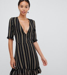 Read more about Parisian tall v-neck stripe print dress with frill details