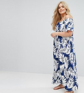Read more about Asos curve off shoulder maxi sundress in navy palm print - print