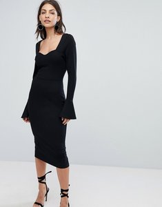 Read more about Asos sweetheart neck pencil dress with frill cuffs - black