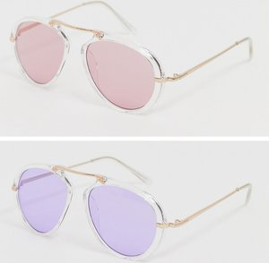 Read more about 7x 2 pack tinted lens aviator sunglasses - yellow pink