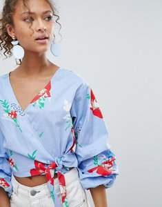 Read more about Miss selfridge floral print puff sleeve wrap blouse - blue