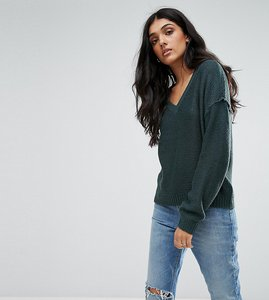 Read more about Noisy may tall v neck jumper with sleeve detail - green