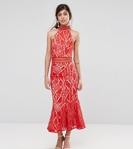 Read more about Jarlo high neck midi dress in lace - red nude