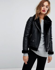 Read more about Warehouse faux leather bonded biker jacket - black