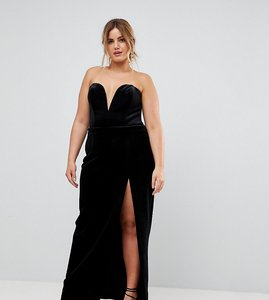 Read more about Ttya black plus structured bandeau maxi dress with high thigh split