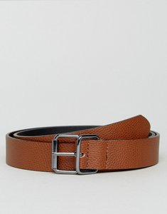 Read more about Asos smart slim belt in pebble grain faux leather gunmetal trims - brown
