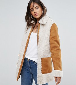 Read more about Asos tall faux shearling coat - tan
