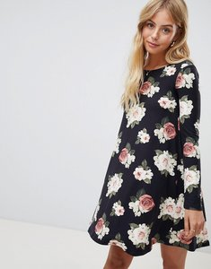 Read more about Brave soul florence long sleeve swing dress in floral print - black floral