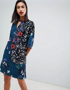 Read more about French connection celia patchwork floral print tie neck dress - deep teal multi