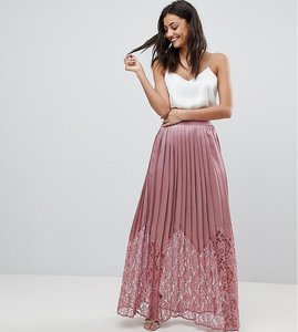 Read more about Little mistress tall lace pleated maxi skirt - rose
