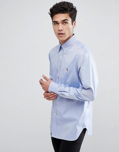 Read more about Polo ralph lauren smart button down collar shirt with multi polo player logo in blue - true blue